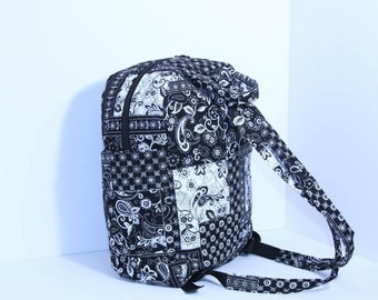 Quilted Backpack  (Extra Large) Diaper bag in Black & White