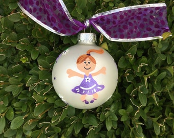 Dance Ornament - Ballerina Bauble, Dancer with Purple Tutu - Hand Painted Personalized Christmas Ornament, Gift for Dancer, Ballet Art
