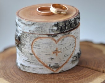 personalized wedding birch box  •  birch wood ring box for wedding decor •  ring bearer pillow
