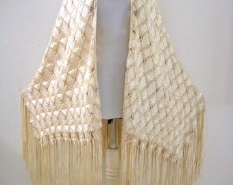 Vintage Ivory Ribbon Shawl - 20s 30s  Fringed Crochet Silky Ribbon Shawl - Woven Ribbon Flapper Gatsby Fringe Shawl - Wedding Shawl