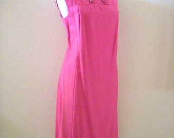 Vintage 1950's Pink Silk Sheath Dress with Rhinestone Buttons, Pink Sleeveless 50s 60s Dress, Size Medium to Large estimated