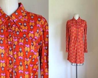 vintage 1960s novelty dress - CHARLIE CHAPLIN mod shirt dress / M-L