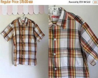 40% OFF back2school SALE vintage 1960s boy's plaid shirt - GOLDEN Glow orange & yellow button down / 14yr