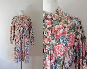 vintage 1970s floral dress - FLORIST shirt dress / L