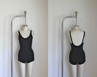 vintage 1920s/30s swimsuit - STARLESS NIGHT black wool knit bathing suit  / XS-S
