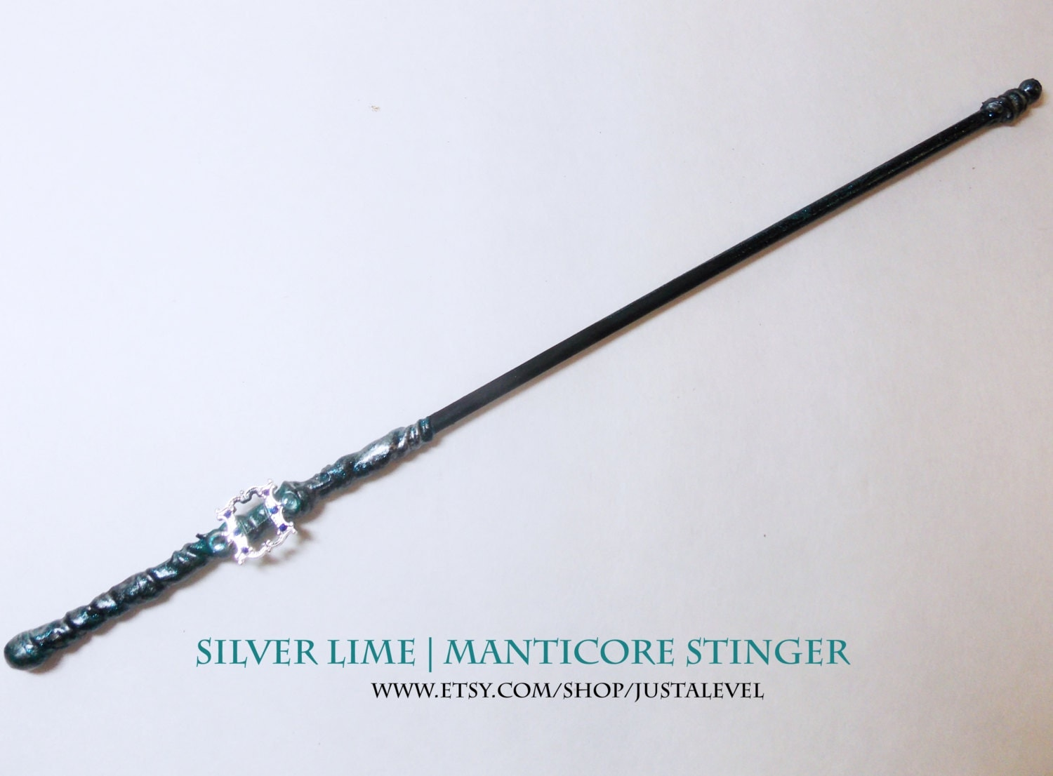 Silver Lime Wood ~ Blue fairy harry potter inspired wand silver lime manticore