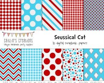 Digital Scrapbook Paper 12x12  - Cat in the Hat inspired - 10 papers featuring red, white, and blue patterns - INSTANT DOWNLOAD