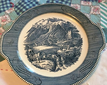 Vintage Currier and Ives The Rocky Mountains Cookie Plate made by Royal in The USA #3773