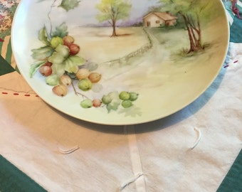 Vintage Hand Painted Scenery Decorative Dinner Plate #3860
