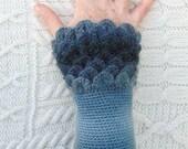 Shades of Grey Crochet Wrist Warmers Crocodile Stitch Wrist Cuffs Handmade in Ireland