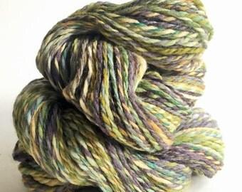 "Handspun Yarn -- ""Swamp Grass"" -- polwarth / silk -- 200 yards worsted weight"