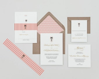 Victorian Monogram Wedding Invitation,French Monogram Wedding Invitation,Calligraphy Monogram Wedding Invitations,Gold Wedding Invitations