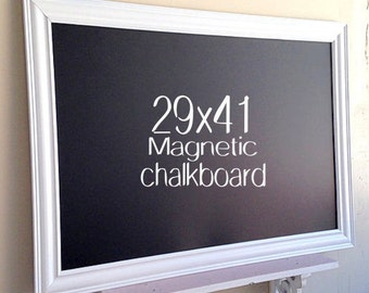 WHITE FRAMED CHALKBOARD Black and White Decor Magnetic Blackboard Modern Chalkboard Large Chalk Board Home Office Organizer Kitchen Board