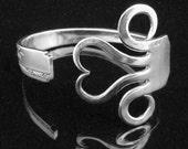 Recycled Silverware Jewelry Fork Bracelet in Original Heart Design