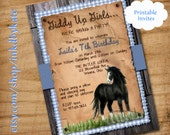 Printable Giddy Up Horse Cowgirl birthday Party Invitation