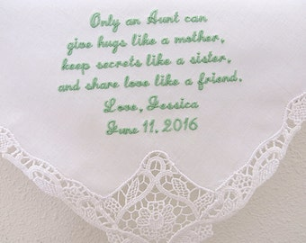 Wedding Handkerchief for the Aunt of the Bride