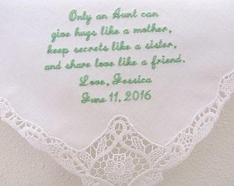 Handkerchiefs, Hankerchiefs, Aunt of the Bride Wedding Handkerchief, Personalized Message Wedding Hankercheifs, Personalized handkerchiefs