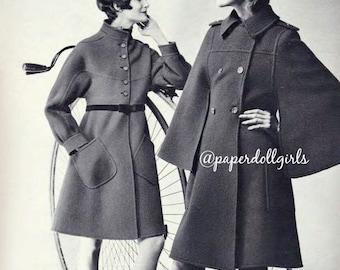 Vintage Fashion Magazine Ad French Vogue Paris 1970 Advertisement Haute Couture Wool Coats Philippe Venet