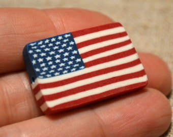2 Flag Beads USA 30x20mm Rectangle Polyclay Polymer Clay Jewelry Fimo Bead