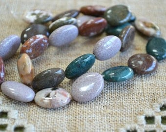 16x12mm Flat Oval Ocean Jasper Natural Gemstone Beads 16 Inches Strand