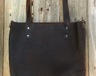 Dark Chocolate Bison Leather Tote