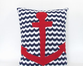 Navy and White Nautical Red Anchor Throw Pillow