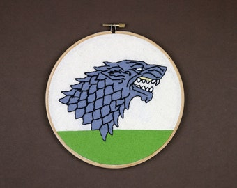 House Stark Sigil Embroidery Hoop (Game of Thrones)