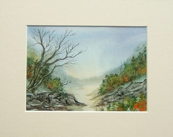 Mounted watercolour art painting (ref 362)