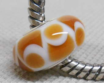 White with Topaz Handmade Lampwork Bead Silver Cored Bead Fits Most European Style Charm Bracelets