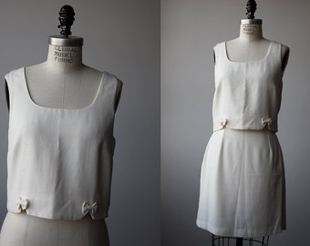 Vintage White Two Piece Set Crop Top and Mini Skirt High Waist Little Bows 90s Summer Suit S