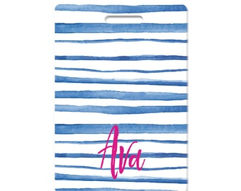 Personalized luggage tags watercolor blue stripes monogram set of two choose text