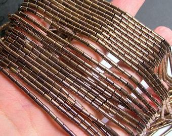 Hematite bronze - 5mm tube beads - 1 full strand - 80 beads - AA quality - PHG189