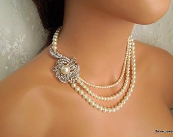 Pearl Bridal Necklace,Swarovski Pearls,Rhinestone Brooch Necklace,Statement Bridal Necklace,Pearl Rhinestone Necklace,Pearl,Bride,SHEILA