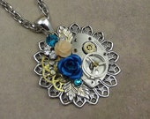 Steampunk Blue Rose Gear Necklace, Watch Plate, Silver Victorian Filigree