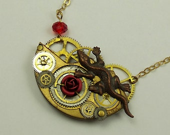 Red Rose Steampunk Necklace Southwest Style Lizard
