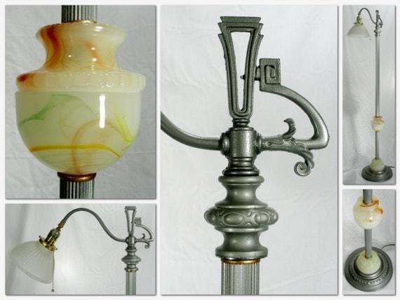 Vintage Slag Glass Art Deco Bridge Floor Lamp Painted Rewired