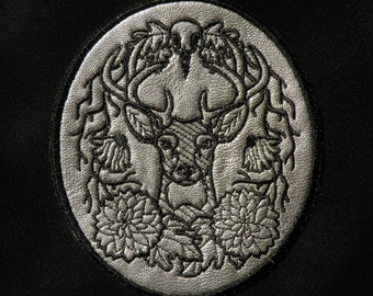"""Woodland Deer Crest on Cowhide Leather Iron on Patch 4.41 """" x 3.84"""""""