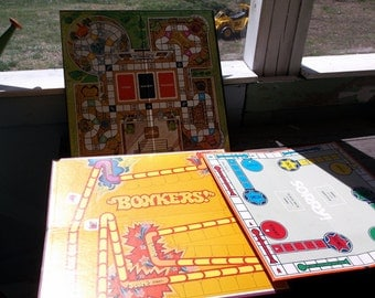 Vintage Set of 3 Game Boards only for Display or Upcycle or Repurpose Bonkers Sorry WhoDunit Game Room decor
