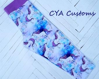 Capri length leggings girl size 6 unicorns lavender