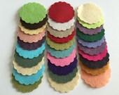 Wool Felt Scallops 30 1 3/4inch in Random Colored 3329 - scallop die cuts - headband supplies - scallop circle die cut