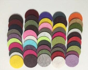 Wool Felt Circles 50 - 1 inch Random Colored 3460 - felted circles - circle die cuts - 1 inch circle die cut