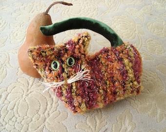 Kitten collectible, ginger stuffed kitten, gift for catlover