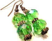 Handcrafted From Vintage Costume Jewelry Emerald City Green Glass Bead Dangle Drop Earrings