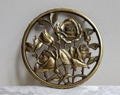 Vintage Brass Trivet Roses & Flowers By Keeler Brass Co., Bohemian Cottage GORGEOUS