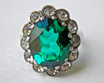 Emerald Ring, Czech Glass Sterling Ring, Rhinestone Ring, Victorian Style Ring, May Birthstone