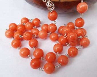 Orange coral necklace, coral necklace, orange beaded necklace, sterling silver, brightly coloured, real coral, something special