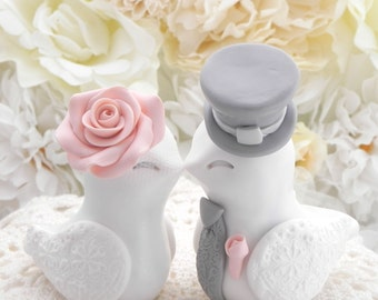 Love Birds Wedding Cake Topper, White, Peach and Grey, Bride and Groom Keepsake, Fully Customizable