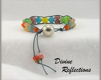 Wrap Bracelet, Multi Color Glass Wrap Bracelet