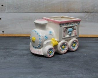 Vintage Relpo Ceramic Nursery Planter, Nursery Decoration, Train
