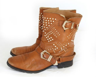 Bohemian Wanderer, Vintage Tan Leather Studded Ankle Boots From Paris